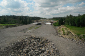 Chantier du prolongement l'autoroute 70 en 2013- Photo du MTQ