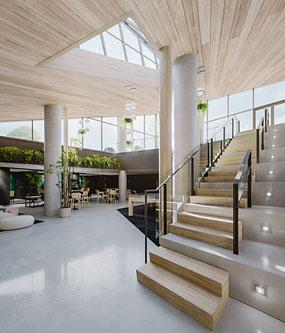 La cour intérieure fermée et vitrée est un élément distinctif du projet. Crédit : NEUF architect(e)s