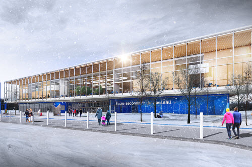 Nouvelle génération d'écoles : de bleu, de bois et d'aluminium - Crédit : Vincent Leclerc Architecte inc.