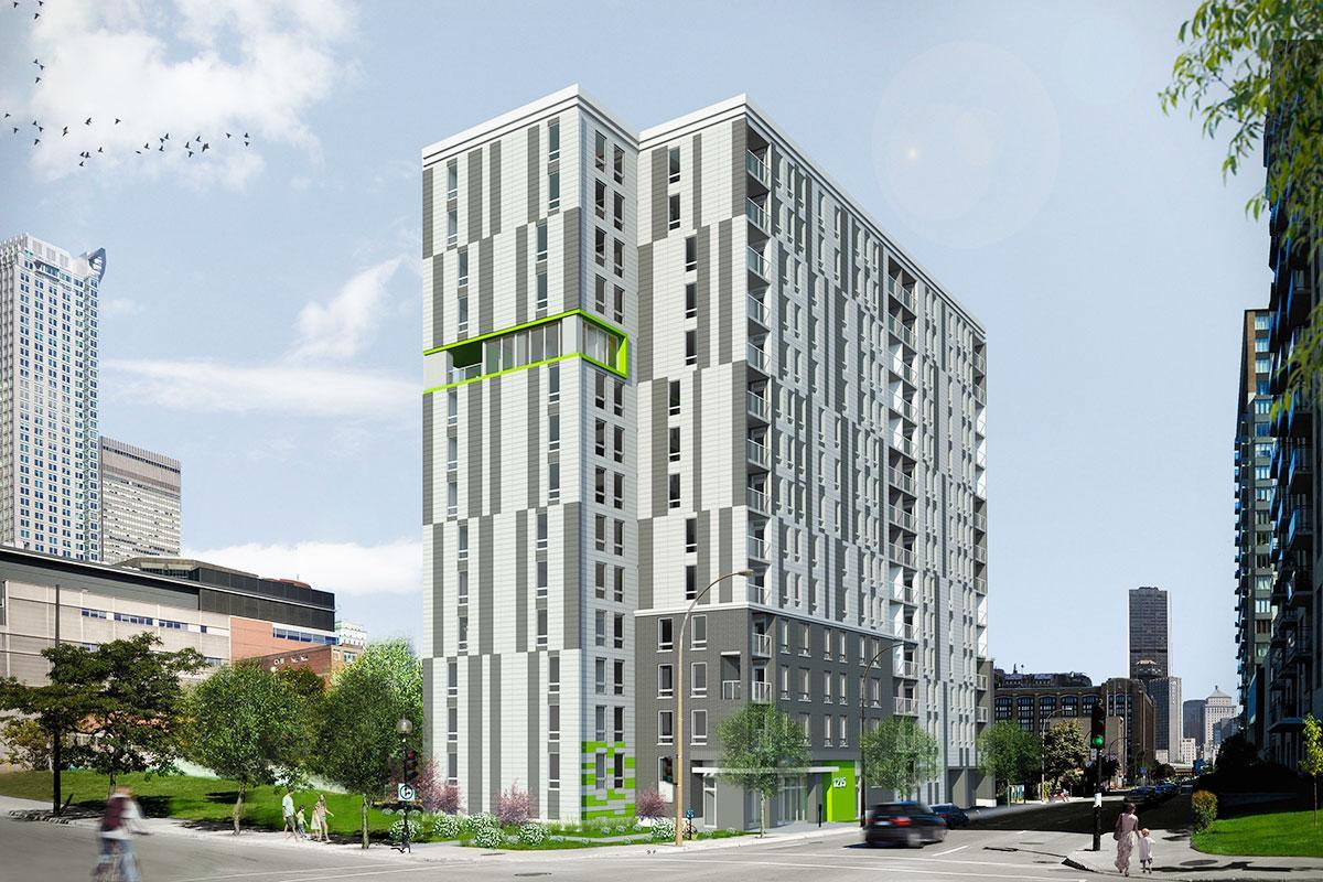 Montréal : construction d'un immeuble de 136 logements sociaux - Crédit image: Douglas Alford architecte / Ville de Montréal